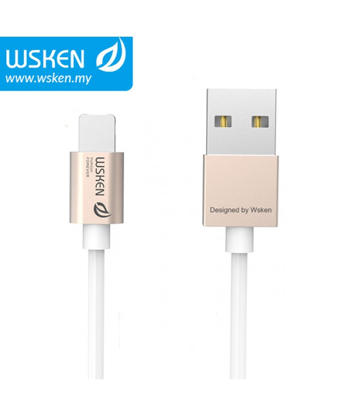 WSKEN Micro USB + Lightning 2 In 1 Reversible USB Cable - Gold